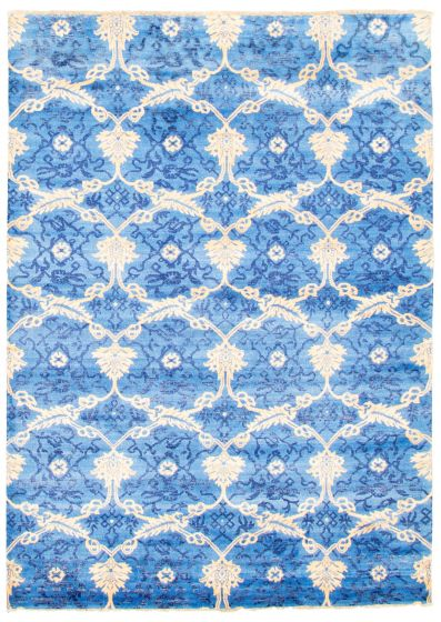 Casual  Transitional Blue Area rug 5x8 Indian Hand-knotted 345558
