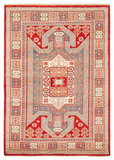 Bordered  Traditional Red Area rug 5x8 Indian Hand-knotted 364336