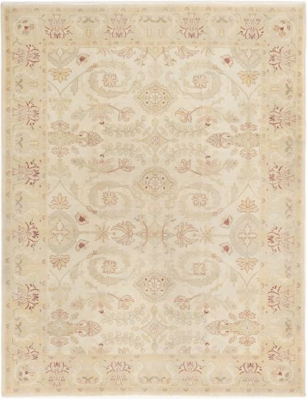 Bordered  Traditional Ivory Area rug 6x9 Turkish Hand-knotted 280856