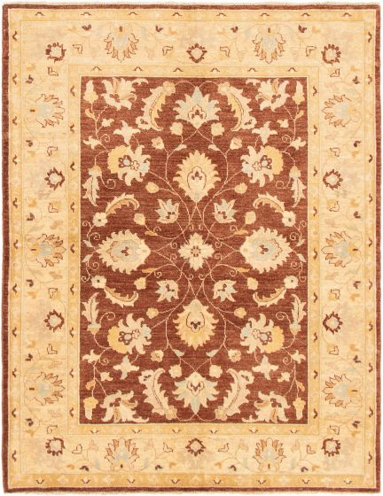 Bordered  Traditional Brown Area rug 5x8 Pakistani Hand-knotted 295489