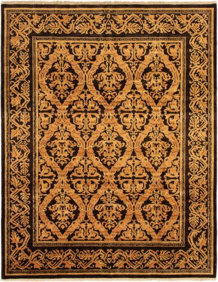 Bordered  Transitional Brown Area rug 6x9 Indian Hand-knotted 295491