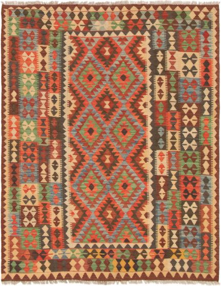 Bordered  Traditional Red Area rug 5x8 Turkish Flat-weave 297462