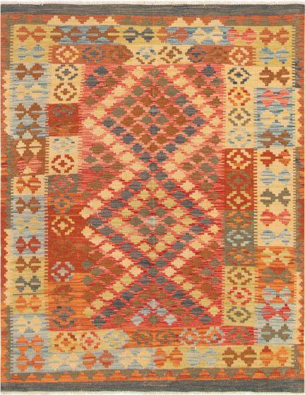 Bordered  Geometric Red Area rug 4x6 Turkish Flat-weave 297696