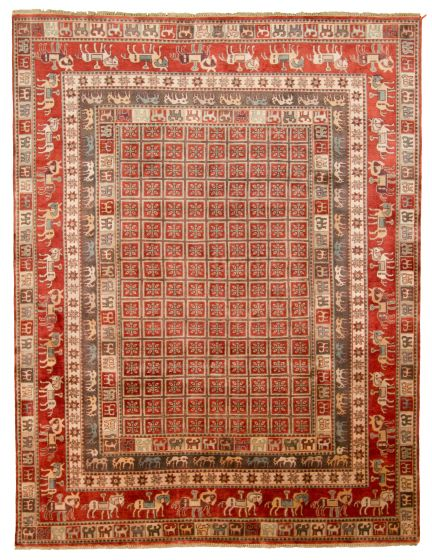 Tribal Red Area rug 9x12 Indian Hand-knotted 313346