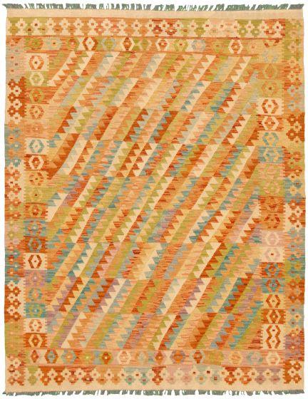 Bordered  Geometric Ivory Area rug 4x6 Turkish Flat-weave 330252