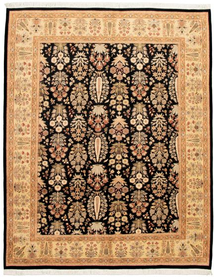 Bordered  Traditional Black Area rug 6x9 Pakistani Hand-knotted 330557