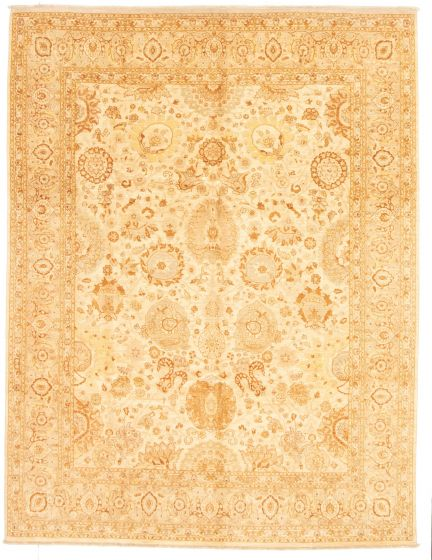 Bordered  Traditional Ivory Area rug 8x10 Pakistani Hand-knotted 331291
