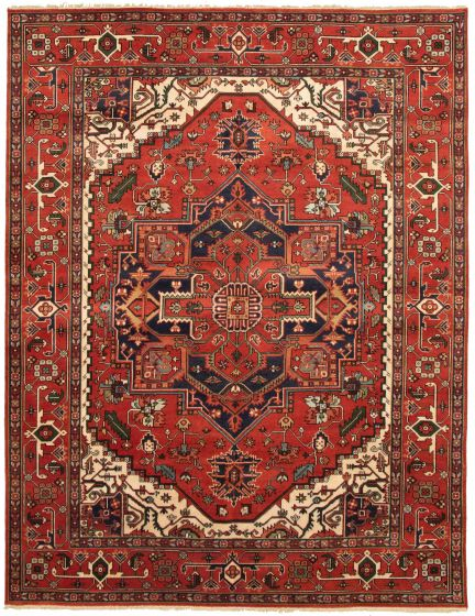 Bordered  Traditional Red Area rug 9x12 Indian Hand-knotted 331871