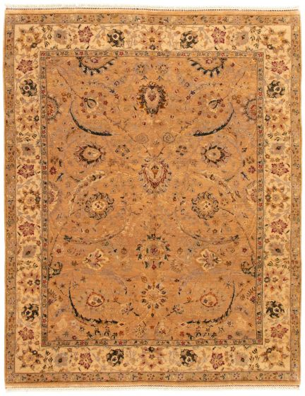 Bordered  Traditional Brown Area rug 6x9 Indian Hand-knotted 335503