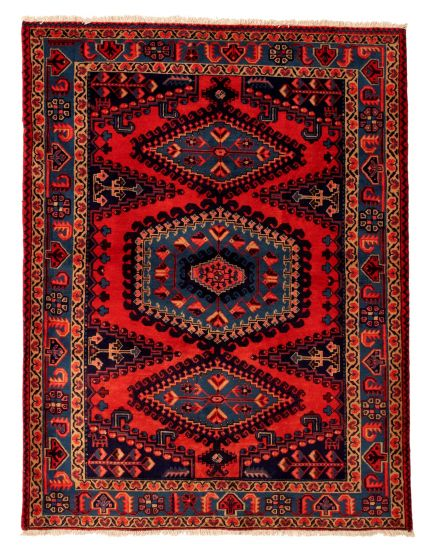 Bordered  Traditional Red Area rug 4x6 Persian Hand-knotted 352164