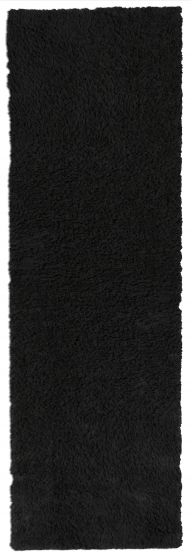 Accent  Solid Black Runner rug 6-ft-runner Imported Handmade 328543
