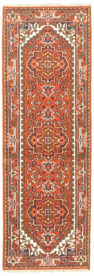 Bordered  Traditional Red Runner rug 8-ft-runner Indian Hand-knotted 344605