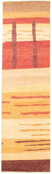 Casual  Transitional Ivory Runner rug 10-ft-runner Pakistani Hand-knotted 330341