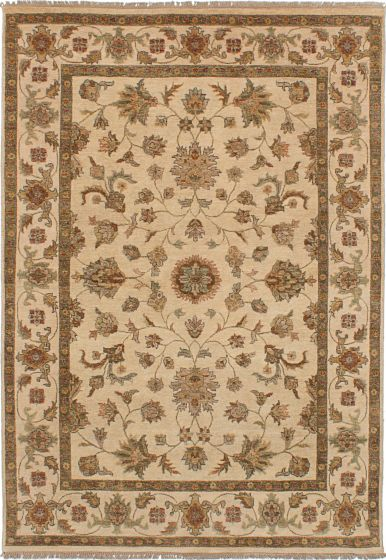Traditional Ivory Area rug 5x8 Indian Hand-knotted 227880
