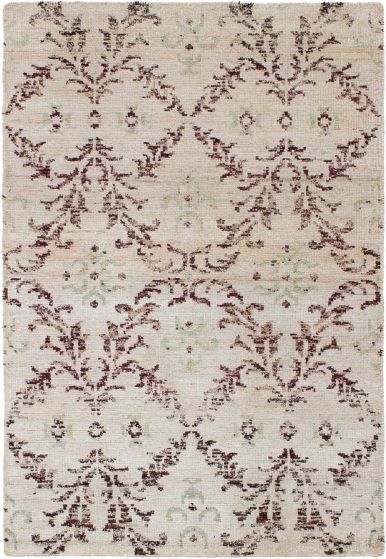 Casual  Contemporary Ivory Area rug 3x5 Indian Hand-knotted 271791