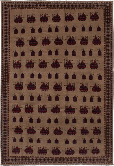 Bordered  Tribal Brown Area rug 6x9 Afghan Hand-knotted 278367