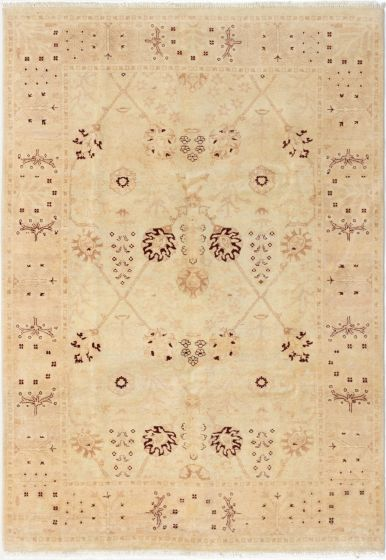 Bordered  Traditional Ivory Area rug 5x8 Afghan Hand-knotted 280547