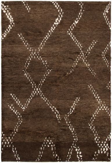 Casual  Transitional Brown Area rug 5x8 Indian Hand-knotted 292827