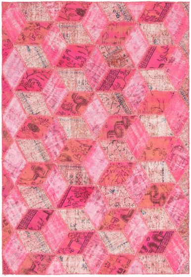 Casual  Transitional Pink Area rug 6x9 Turkish Hand-knotted 296528