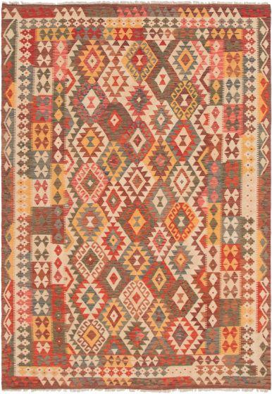 Bordered  Geometric Red Area rug 6x9 Turkish Flat-weave 297900