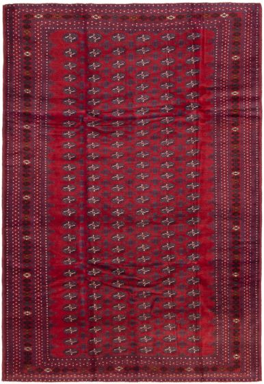 Bordered  Tribal Red Area rug 6x9 Afghan Hand-knotted 298284