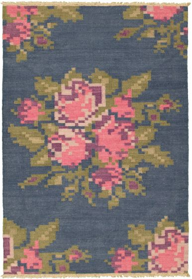Flat-weaves & Kilims  Transitional Blue Area rug 5x7 Turkish Flat-weave 315770