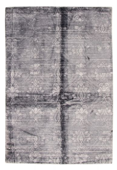Casual  Contemporary Grey Area rug 4x6 Indian Hand Loomed 315962