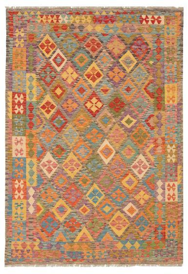 Bordered  Geometric Multi Area rug 6x9 Turkish Flat-weave 316246