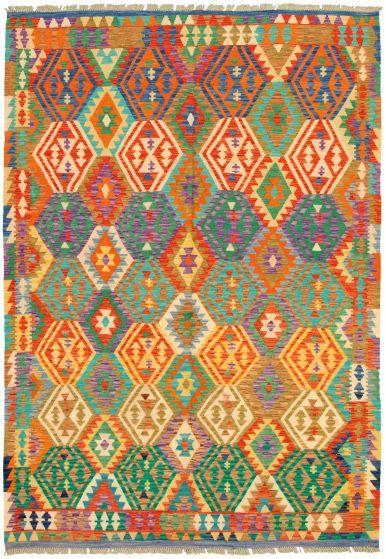 Bordered  Geometric Multi Area rug 6x9 Turkish Flat-weave 329856