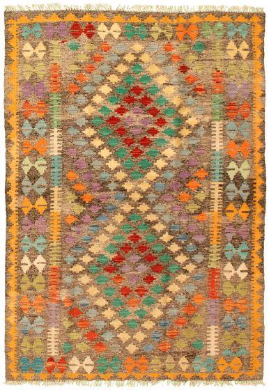 Bordered  Geometric Grey Area rug 3x5 Turkish Flat-weave 329959