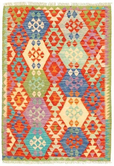 Bordered  Geometric Multi Area rug 3x5 Turkish Flat-weave 330226