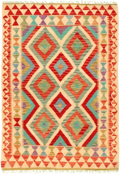 Bordered  Geometric Ivory Area rug 3x5 Turkish Flat-weave 330245