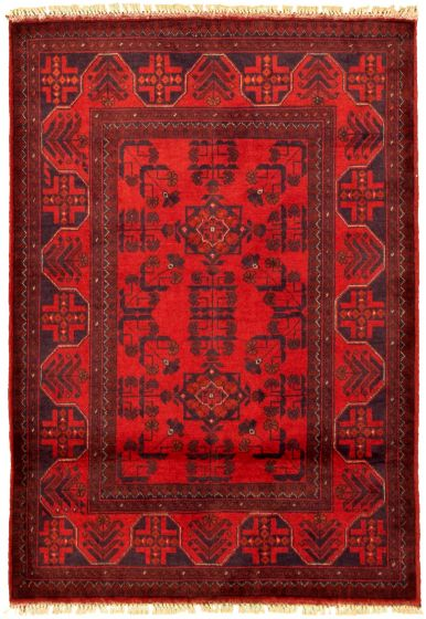 Bordered  Tribal Red Area rug 3x5 Afghan Hand-knotted 330279