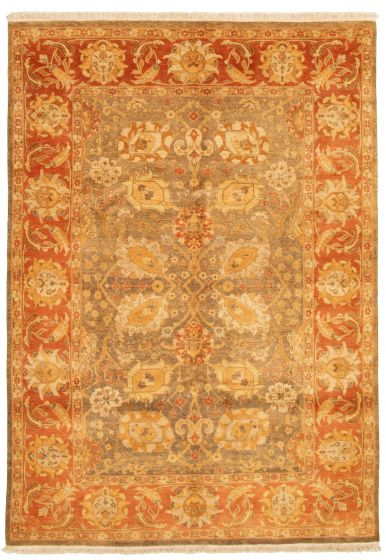 Bordered  Traditional Brown Area rug 5x8 Pakistani Hand-knotted 331616
