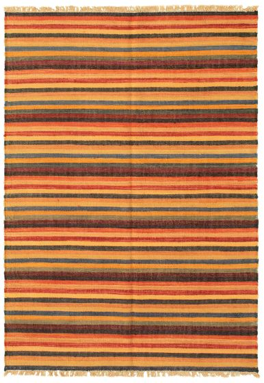 Casual  Transitional Multi Area rug 3x5 Turkish Flat-weave 335471