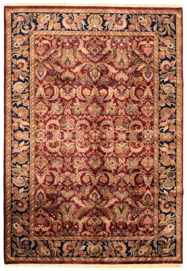 Bordered  Traditional Red Area rug 5x8 Indian Hand-knotted 335486
