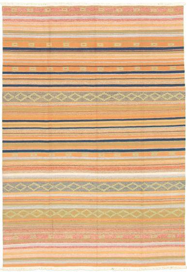 Bohemian  Transitional Orange Area rug 5x8 Turkish Flat-weave 335878