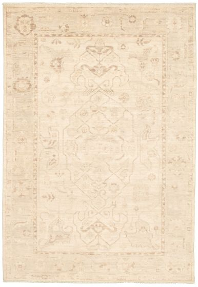 Bordered  Transitional Ivory Area rug 5x8 Pakistani Hand-knotted 339024