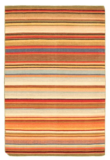 Flat-weaves & Kilims  Transitional Red Area rug 3x5 Indian Flat-weave 344468