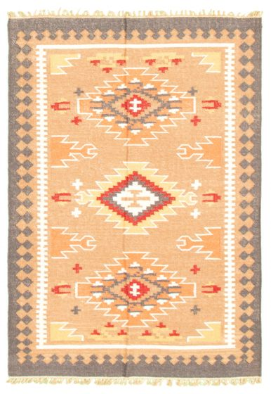 Flat-weaves & Kilims  Traditional Brown Area rug 3x5 Turkish Flat-weave 344476