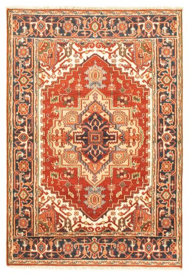 Bordered  Traditional Red Area rug 3x5 Indian Hand-knotted 344893