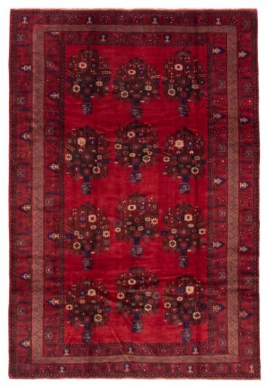 Bordered  Tribal Red Area rug 6x9 Afghan Hand-knotted 358237