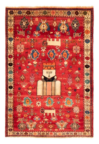 Bordered  Tribal Red Area rug 3x5 Persian Hand-knotted 358583