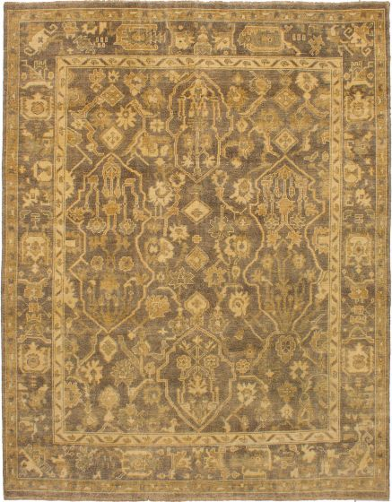 Bordered  Traditional Grey Area rug 6x9 Indian Hand-knotted 272273