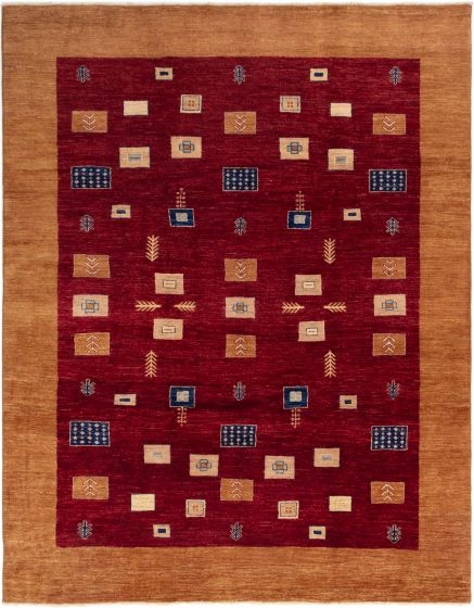 Gabbeh  Traditional Red Area rug 8x10 Afghan Hand-knotted 280333