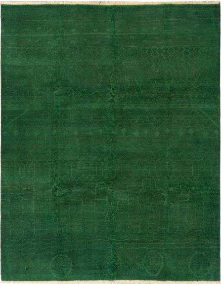 Casual  Transitional Green Area rug 6x9 Indian Hand-knotted 280493