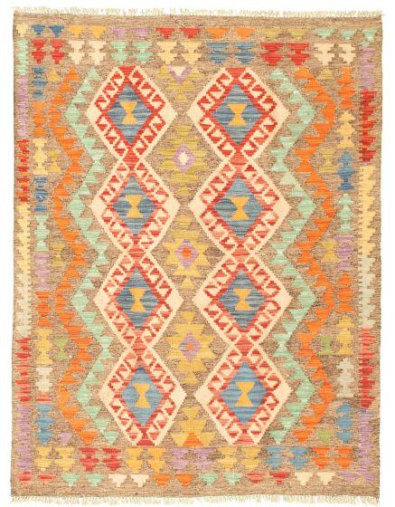 Bordered  Geometric Multi Area rug 3x5 Turkish Flat-weave 330006