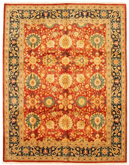 Bordered  Traditional Red Area rug 6x9 Pakistani Hand-knotted 331295
