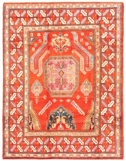 Bordered  Traditional Red Area rug 6x9 Afghan Hand-knotted 342368