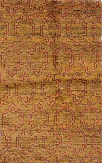 Transitional Brown Area rug 5x8 Indian Hand-knotted 221955